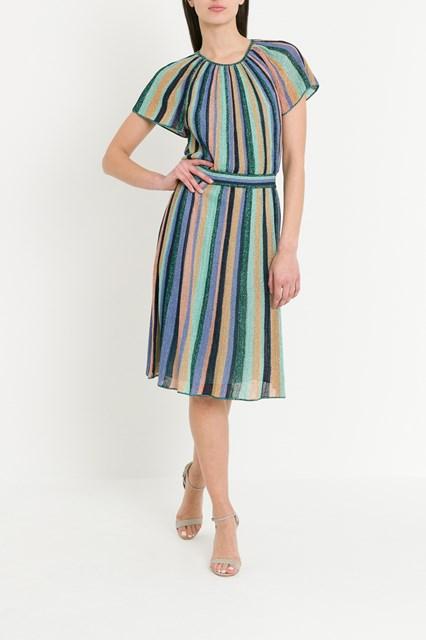 c860532dab8f7 M MISSONI Lurex knit midi dress with multicoloured stripes motif