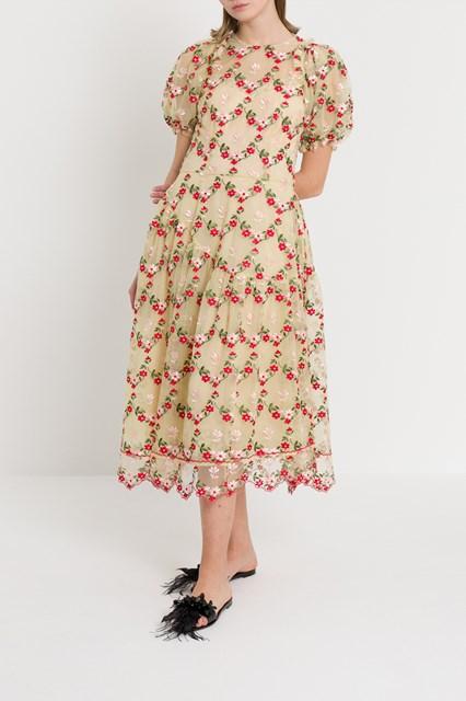 aef098679b56b2 Women Floral-embroidered tulle midi dress disponibile su ...