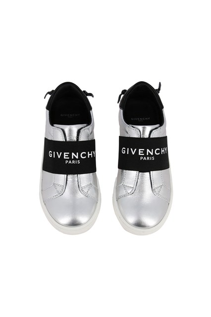 Logo-Strap Slip-On Sneakers Metallic
